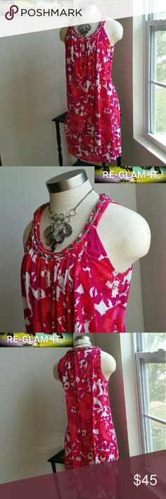 3 DAY SALE..DONNA RICCO...GORGEOUS FLOWER ...DRESS ...EXCELLENT CONDITION ... ...LIKE NEW ...NO FLAWS  ...GORGEOUS  ...A MUST HAVEEEE  ...true to it's size and color ...color...multiple  ...2 pic up close ...beautiful flower design throughout  ...sleeveless  ...comfortable  ...loose feel ...gorgeous silver braid front...  deco  ...MTRL...adding soon ...better in person Donna Ricco Dresses