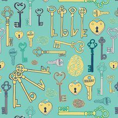 Keys to your heart fabric by creative_merritt on Spoonflower - custom fabric