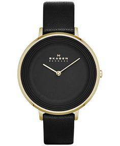 Skagen Women's Ditte Black Leather Strap Watch 30mm SKW2286