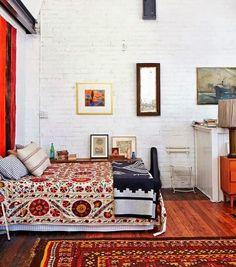 Habitación con decoración bohemia