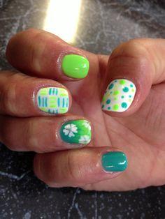 Nail shellac gelish gel nails nail art cute green teal blue fade ombre neon stripes polka dots flower