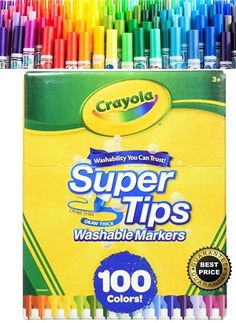 Crayola Washable Markers Super Tips 100 Count BIG Box SuperTips Colors Art Craft #Crayola
