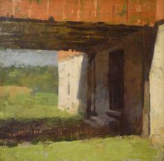 Jon Redmond, Bank Barn, 2012, oil on panel, 10 x 10 inches