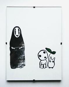 linocut  No-face, Codama and Chibi Totoro. Love them <3