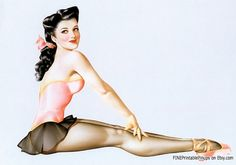 pinup pin up vintage classic old retro illustration drawing painting girl woman pretty sexy vargas elvgren art artist hair dress 50s 40s 30s 20s 60s 70s 1920 1930 1940 1950 1960 1970 300dpi printable quality ballerina ballet shoes pink brunette