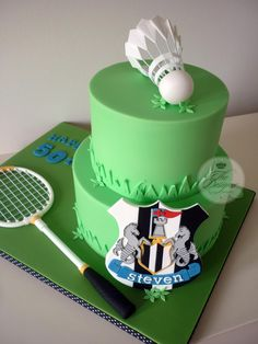 This cake was made for a sports fan who plays badminton and is a Newcastle United supporter. Shuttlecock, racket and shield are all made from gumpaste. Sports Themed Cakes, Sports Theme Birthday, Themed Birthday Cakes, 50th Birthday, Birthday Ideas, Fondant Toppers, Fondant Cakes, Cupcakes, Cupcake Cakes