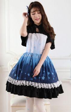 Short Sleeves Knee-length Blue and Black Princess Dress Sweet Lolita Dress Customize #Lovejoynet