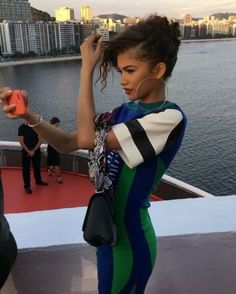 Pin for Later: While You Were at the Beach Louis Vuttion Debuted Resort 17 in Rio Zendaya joined the crowd in a bright Louis Vuitton look. Mode Zendaya, Zendaya Outfits, Zendaya Style, Zendaya Fashion, Zendaya Coleman, Beautiful Celebrities, Beautiful People, Beautiful Gorgeous, Look Fashion