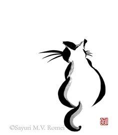 Kitty - sumi-e by *SayuriMVRomei on deviantART