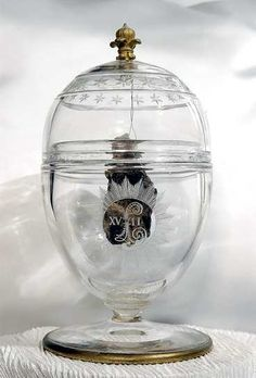 The crystal encased heart of Louis XVII, son of Louis XVI and Marie Antoinette, who died in Paris's Temple Prison.