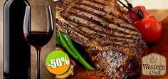 Western Grill - $169 en lugar de $338 por 1 Jugoso T-Bone de 400 Gramos a la Parrilla + 1 Copa de Vino Tinto de Linius ó 1 Refrescante Limonada con Menta Click http://cupocity.com