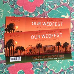 Wedding Invitation Samples, Ticket Invitation, Invites, Festival Wedding, Festival Party, Bachelorette Party Favors, Concert Tickets, Rock N Roll, Packaging