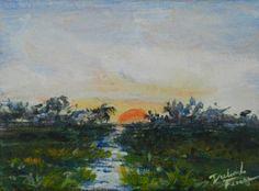 MARSH SUNRISE.  Original Acrylic Painting on Canvas. 5x7 Original available through my Etsy website.  DeborahFerreeArtCafe.