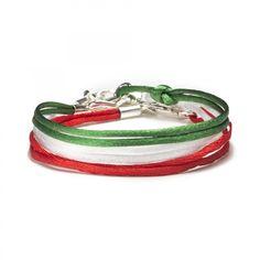 Set of Three Silk Silver-Tone Bracelets Red