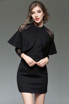 Black Lace Patchwork Long Sleeves Sheath Mini Dress