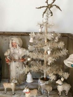 Antique White Feather Tree,with Santa ,tree decorations, and cotton sheep,all in… Nordic Christmas, Victorian Christmas, Vintage Christmas Ornaments, Primitive Christmas, Christmas Love, Christmas Colors, Rustic Christmas, Christmas Decorations, Tree Decorations