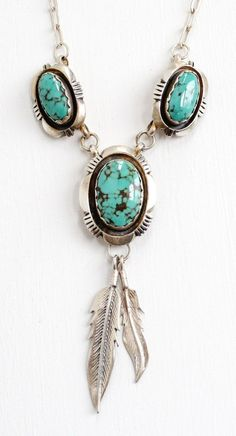 Vintage Sterling Silver Turquoise Blue Stone & Leaf Motif Necklace - Retro Navajo Native American Jewelry Hallmarked L. Turquoise Wedding Jewelry, Boho Jewelry, Vintage Jewelry, Jewelry Accessories, Jewelry Design, Turquoise Necklace, Jewlery, Jewellery Sale, Geek Jewelry