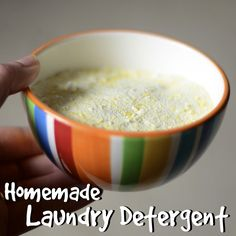 Laundry Detergent recipe: 1 c. borax, 1 c. washing soda, 1 bar of soap.  *Grate bar of soap into a bowl *Pour in one cup of borax *Pour in one cup of washing soda *Mix until all the grated soap breaks up & the mixture looks like regular dry laundry detergent.  Use one tbsp per load, maybe 1.5 for huge or extra dirty ones.