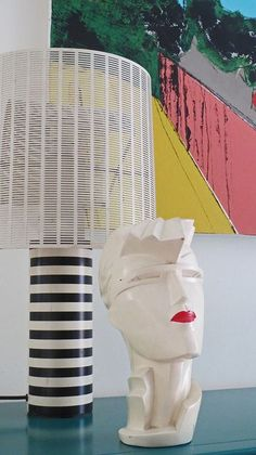 1980s Assemblage: Shogun lamp with Lindsey B bust.