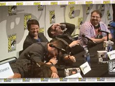 The Supernatural panel at Comic Con in one picture LOL BTW they were laughing about the hilarious hamster #Supernatural SDCC 2015 || Jensen Ackles || Jared Padalecki || Misha Collins Mark Sheppard