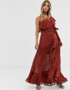 Buy Forever New high low asymmetric belted maxi dress in rust at ASOS. With free delivery and return options (Ts&Cs apply), online shopping has never been so easy. Get the latest trends with ASOS now. Asos, What To Wear To A Wedding, How To Wear, Moda Boho, Panel Dress, Feminine Style, Feminine Fashion, Forever New, Bridesmaid Dresses