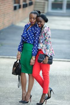 royal blue polka dots + kelly green pencil skirt chic