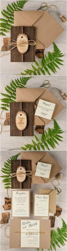 Rustic country wedding invitations #rusticweddingideas