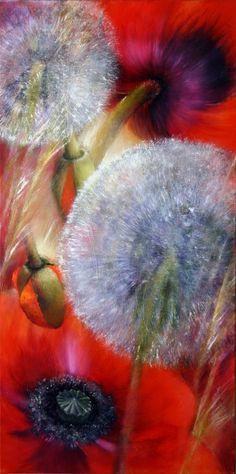 Mohn und Pusteblumen II. 40 x 80 cm. Öl auf Leinwand. 950 Euro, verkauft