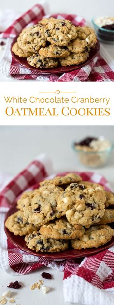 These White Chocolate Cranberry Oatmeal Cookies are a family favorite. They're loaded with dried cranberries, sweet creamy white chocolate chips, and good for your heart oatmeal.
