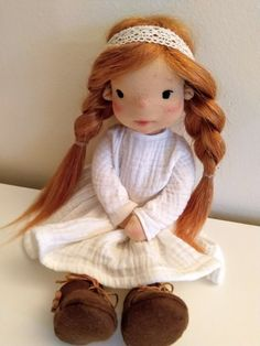 Ayla 11 inches Waldorf inspired doll natural fiber art doll | Etsy Ooak Dolls, Art Dolls, Cotton Tights, Felt Shoes, Waldorf Dolls, Fiber Art, Doll Clothes, Pure Products, Pavlova