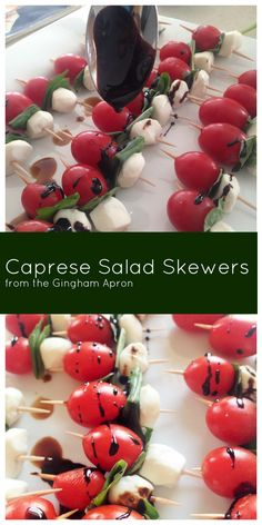 Caprese Salad Skewers with a drizzle of balsamic reduction