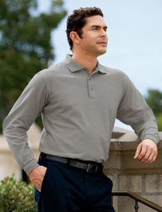 a916aa046 Big Mens Silk Touch Long Sleeve Polo Sport Shirt by Port Authority®