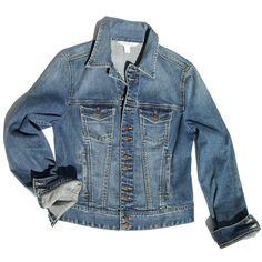 Boston Proper Denim jacket (465 RON) ❤ liked on Polyvore featuring outerwear, jackets, travel jacket, jean jacket, blue blazer, jean blazer jacket and denim blazer jacket