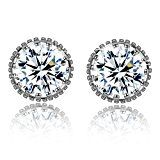 Women Earrings Fashion 925 Sterling Silver Sparkling Round-Cut Cubic Zirconia Halo Stud Earrings Jewelry * Continue with the details at the image link. Fashion Earrings, Women's Earrings, Halo, Women Jewelry, Sparkle, Engagement Rings, Sterling Silver, Image Link, Collections