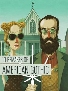 """10 Remakes of Grant Wood's """"American Gothic""""  (Cover art © Steve Simpson)"""