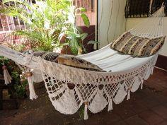 Beige Jumbo Size Hammock hand-woven Natural Cotton by hamanica Hammock Chair, Hanging Chair, Outdoor Hammock, Hanging Rope, Indoor Outdoor, Pergola Pictures, Double Hammock, Pergola Designs, Pergola Ideas
