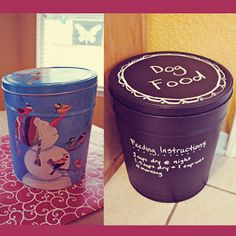 i should be mopping the floor: Popcorn Tin turned Dog Food Container Tin Can Crafts, Diy Arts And Crafts, Fun Crafts, Dog Food Container, Food Containers, Bedroom Crafts, Funky Junk Interiors, Chalkboard Paint, Diy Wood Projects