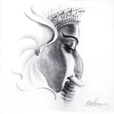 Ganesha Drawing, Lord Ganesha Paintings, Ganesha Art, Krishna Art, Watercolor Paintings Nature, Indian Art Paintings, Ganesha Pictures, Mandala Art Lesson, Charcoal Art