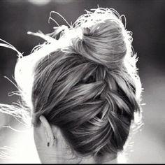 braid into bun updo for thin hair