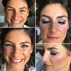 Before and after makeup of my July 23, 2016 bride, Jamie. Neutral eye, semi-dramatic lashes and pink lipcolor and blush.