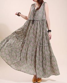 Cotton sleeveless long dress Loose Floral Big swing by MaLieb, $108.00