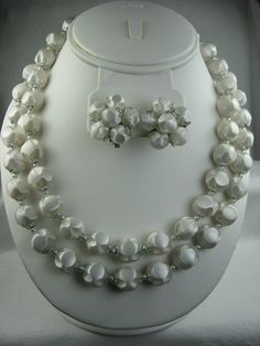 Vintage Plastic Demi Parure, Double Strand Necklace, Cluster Earrings, Pearl Grey 1950's Jewelry Set