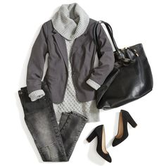 LOVE THIS. I dig the all-neutrals look, the faded denim, the chunky heels, and the big sweater with a fitted jacket.