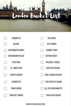 The Ultimate London Bucket List | Voyageur Kalee