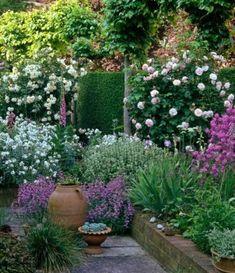 90 Gorgeous Spring Garden Landscaping for Front Yard and Backyard Ideas - DoitDecor Vegetable Garden Design, Cottage Garden Design, Small Garden Design, Vegetable Gardening, Back Gardens, Small Gardens, Outdoor Gardens, Low Water Landscaping, Garden Landscaping