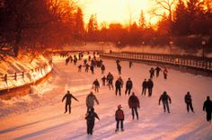 A highlight of winter in Ottawa is the Rideau Canal Skateway, the world's largest skating rink. Skate through the heart of downtown Ottawa on the Rideau Canal. Ottawa Canada, O Canada, Ottawa Ontario, The Places Youll Go, Places To See, Outdoor Skating Rink, Outdoor Rink, Ottawa Tourism, Angeles