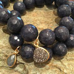 Dark Blue #Jade #druzy #Labradorite bracelets Etsy.com/shop/Karmicsparkle