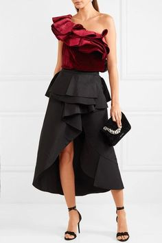 JOHANNA ORTIZ Lorca one-shoulder #ruffled #satin, #velvet and jersey #bodysuit €955