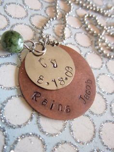 Mixed Metal Personalized Hand Stamped Date and Name by girlinair, $15.00