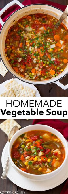 Vegetable Soup - It's healthy, it's comforting and times better than what you'll get in a can! A keeper recipe for sure! via Vegetable Soup - It's healthy, it's comforting and times better than what you'll get in a can! A keeper recipe for sure! Homemade Vegetable Soups, Vegetable Soup Healthy, Vegetable Soup Recipes, Healthy Vegetables, Vegetarian Recipes, Healthy Recipes, Healthy Food, Vegetable Soup With Noodles, Best Veggie Soup